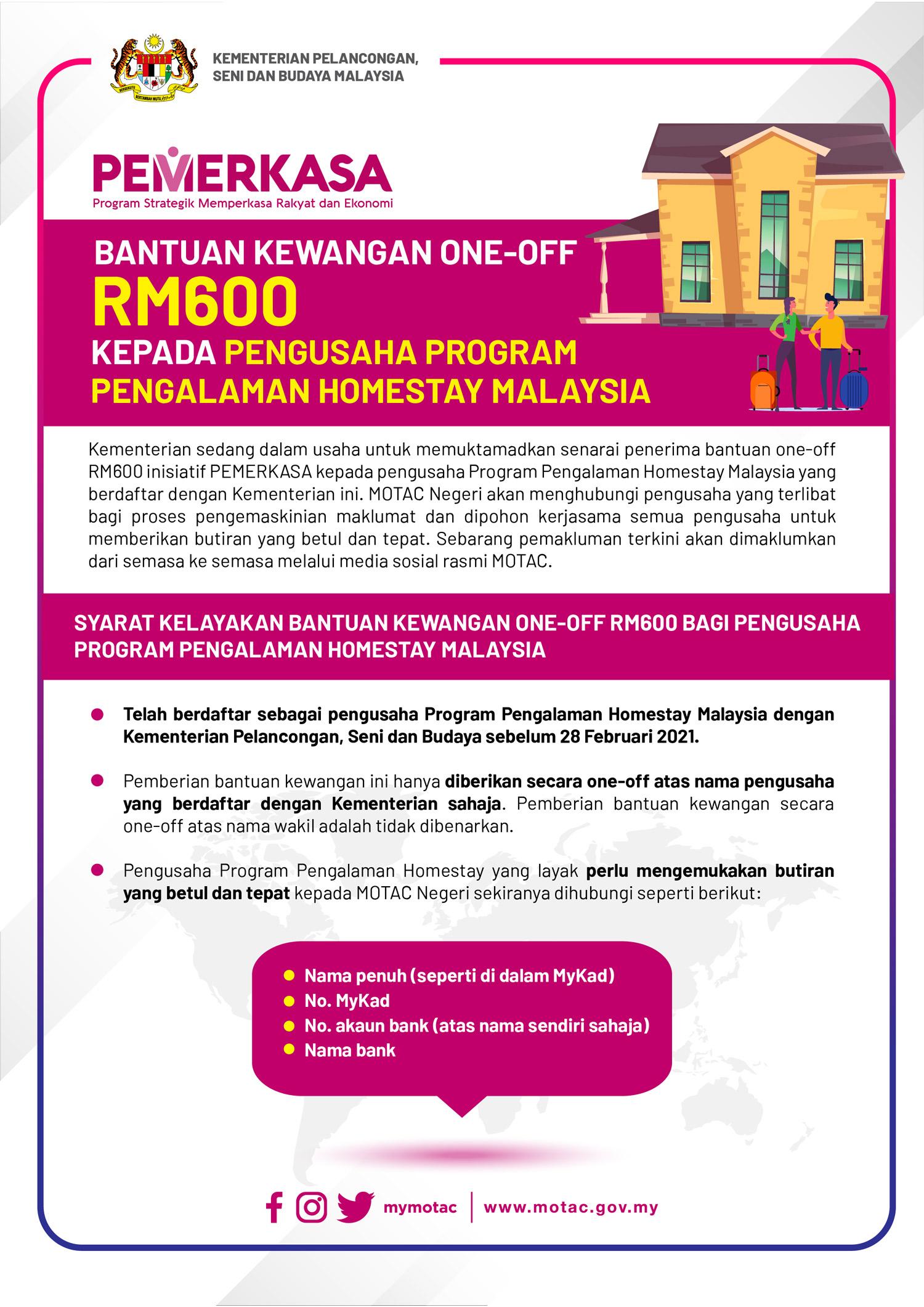 Permohonan Bantuan Kewangan PEMERKASA Kepada Pengusaha Program Pengalaman Homestay Malaysia